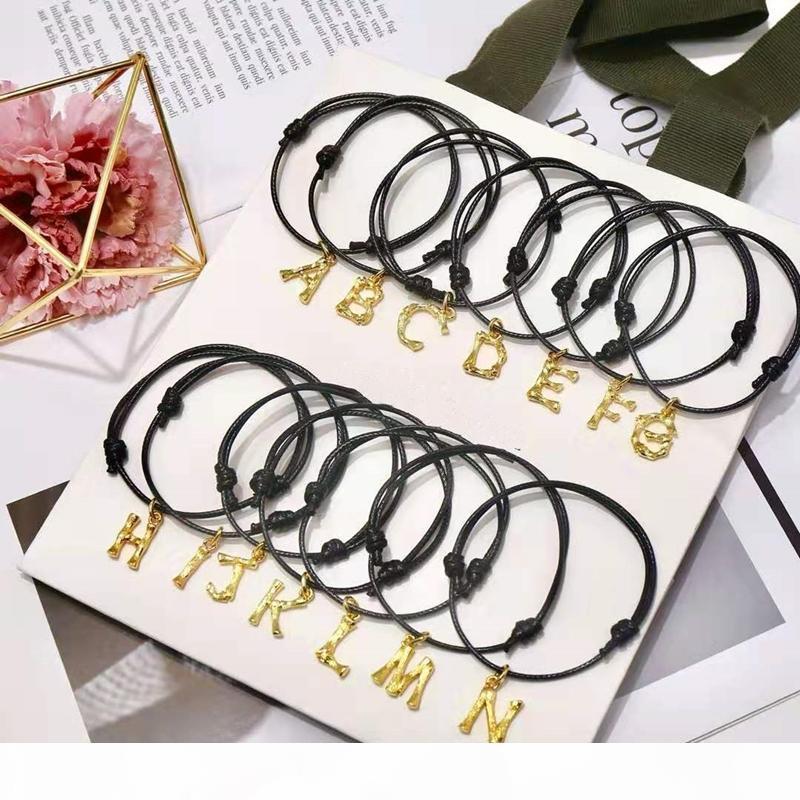 Europa y América de moda Hombres Mujeres pulsera de oro amarillo plateado A-Z pulseras de la carta por mujeres de las muchachas del bonito regalo