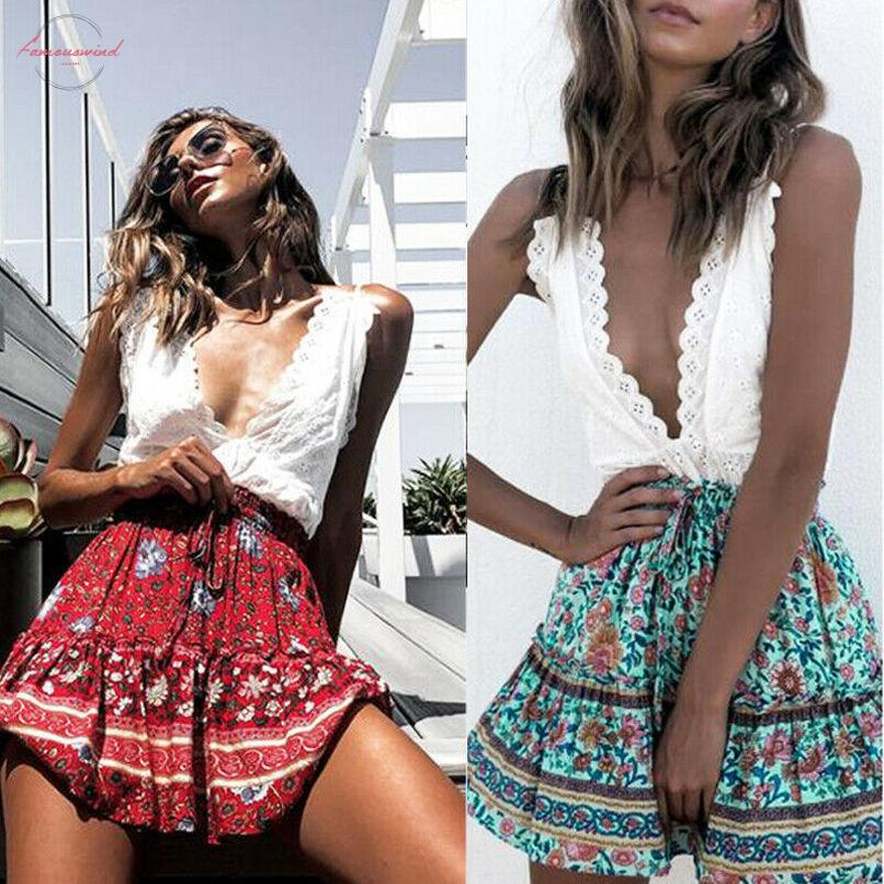 Pizzo Vita Estate Vintage stampa floreale gonna corta femminile dolce Paperbag Donne elastico vita alta Boho Beach Gonne 2020 Chic