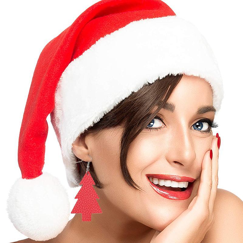 New Christmas Tree PU Leather Earrings for Women Fashion Personality Statement Earring Festival Water Drop Dangle Earrings Jewelry Gifts