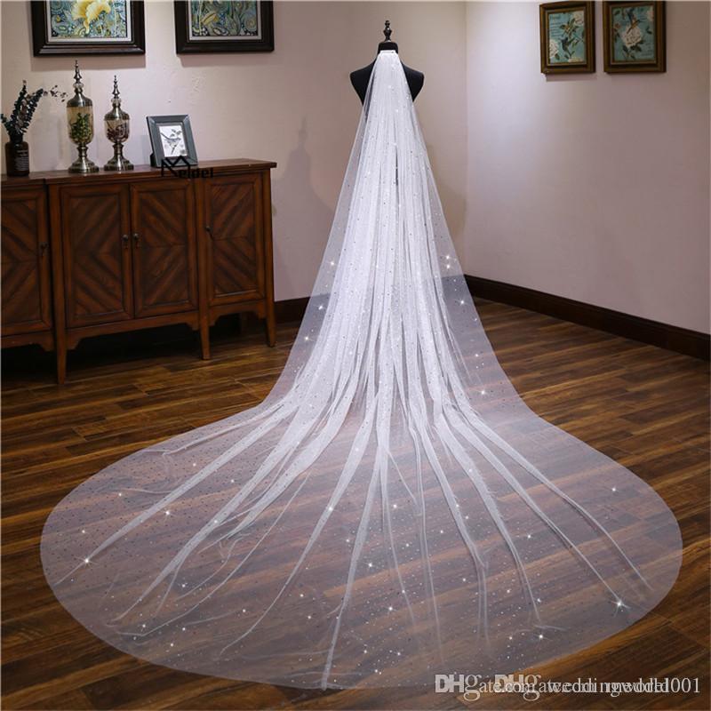 2019 الأزياء 4 متر عرض 1.8 M الأبيض 1 طبقة مع مشط الحجاب الزفاف الزفاف الحجاب اكسسوارات الزفاف