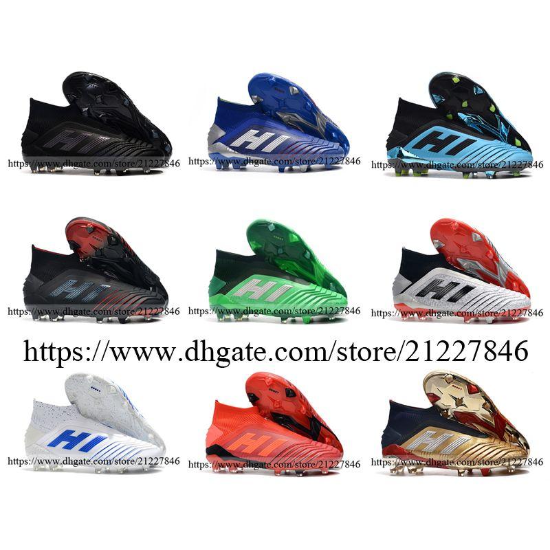 أحذية جديدة Laceless المفترس 19+ FG كرة القدم للرجال جلدية العليا الكاحل جوارب أحذية كرة القدم المرابط أزرق أبيض أسود أخضر الفضة 39-46