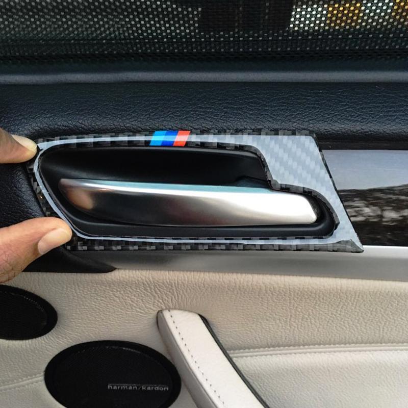 Mango 4pcs del coche de fibra de carbono Puerta Puerta Tazón Pegatina Cubierta de Montaje para X5 X6 E70 E71 2009 2010 2011 2012 2013