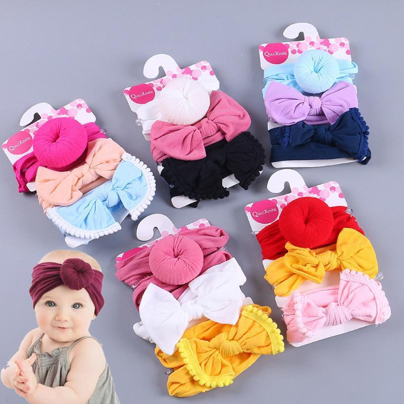 3pcs venda del bebé del verano lindo Arcos floral de la niña de la venda elástico sólido Bowknot Hairband 2020 Conjunto recién nacido Accesorios para el cabello