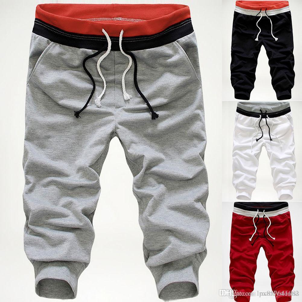 Calças curtas dos homens de Moda Sports Joggers grandes soltos Sweatpants Drawstring Pants Casual