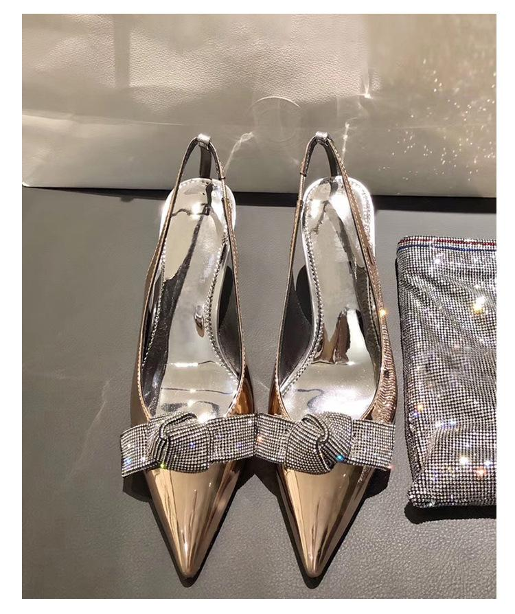 New Slingback Women Pumps Luxury Rhinestones Butterfly Silver Party Wedding Shoes Sexy High Heels Summer Prom Shoes 6CM