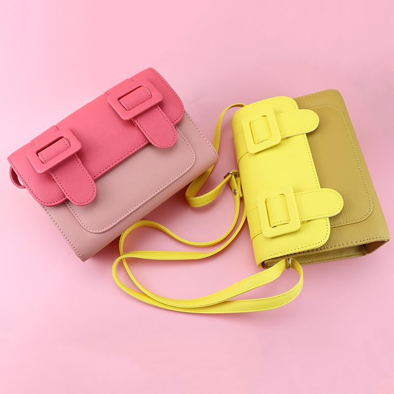 2020 new ladies shoulder bag high quality PU color matching small square bag soft leather fashion candy color simple diagonal