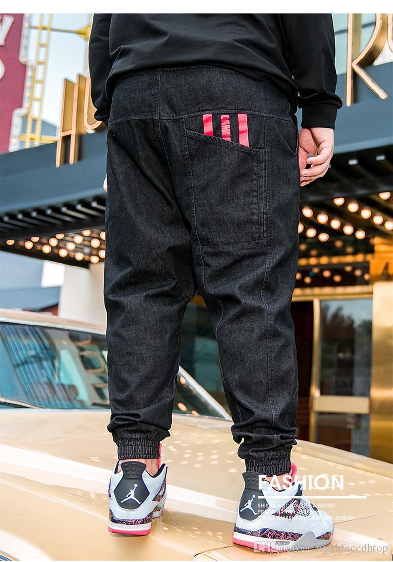 Casual rayas suelta más el lápiz de los pantalones para hombre de color sólido Diseñador Jeans Calle manera del estilo de los pantalones vaqueros para hombre