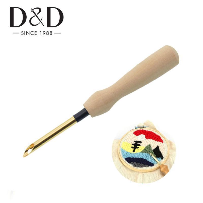 Dikiş Keçe Threader Örgü Dikiş Araçları Ahşap Kol Nakış Kalem Punch İğnesi DIY Çapraz Dikiş Punch İğne