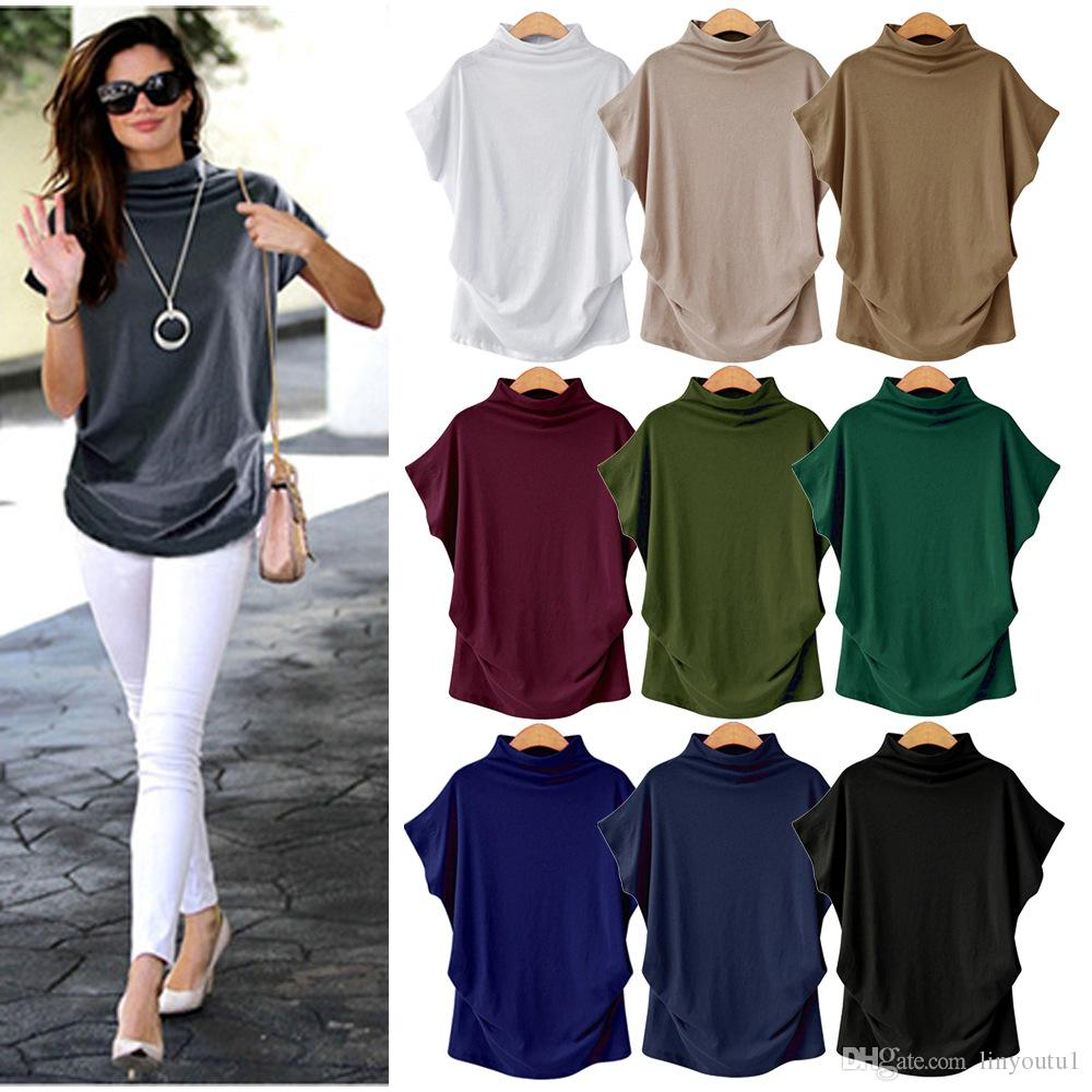 2019 T-shirt Lâche Femmes D'été Chauve-Souris Tops À Manches Courtes T-shirts De Mode Solide T-shirt Casual Col Rond T-shirt Plus La Taille