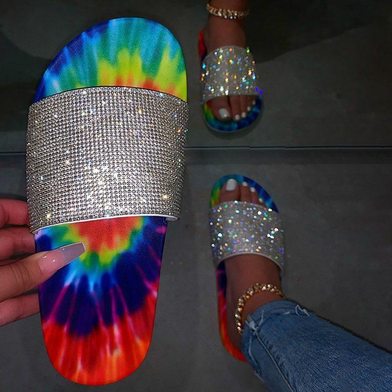 2020 Mulheres Summer Beach Slipper Pedrinhas Bohemian Mix-cor sandálias artesanal de cristal grossas inferior Chinelos Casual ao ar livre