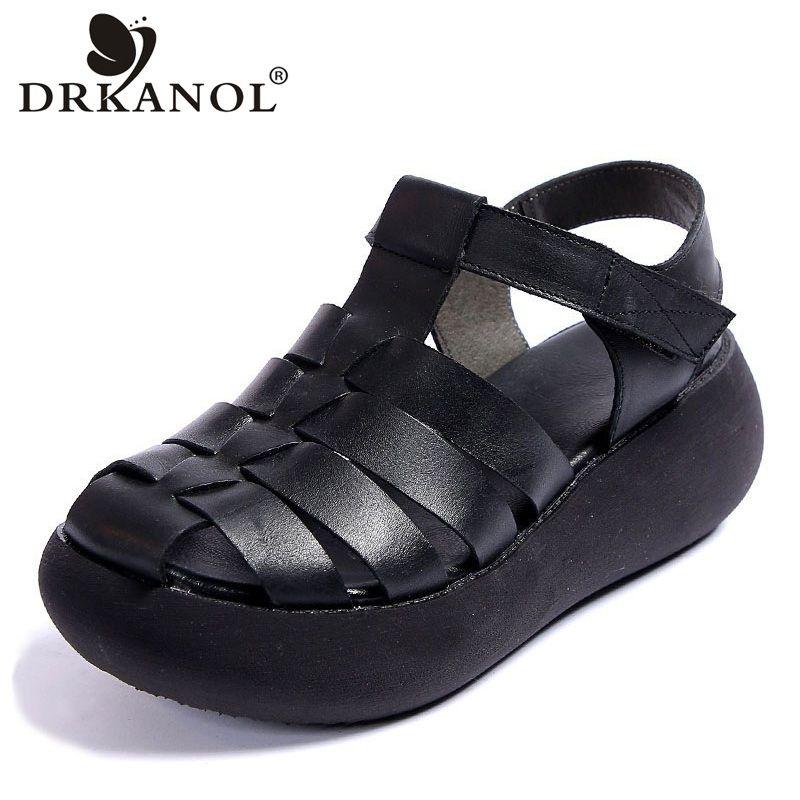 DRKANOL 2020 echtes Leder Gladiator Sandalen für Frauen zwängen Sandelholz-Dame-Absatz-Plattform beiläufige Sommer-Schuhe