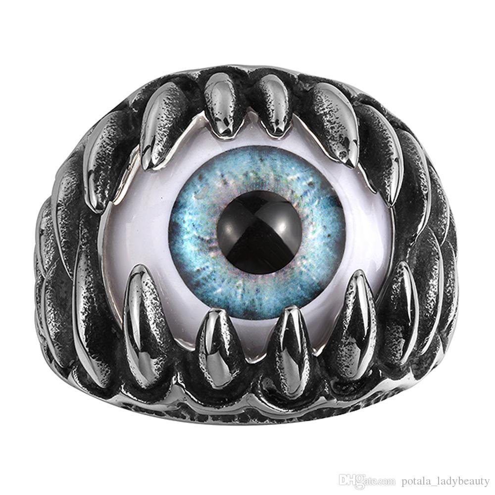 Presente do dia da Personalidade Anti-Silver Rings Maya Blue Monster Eye Único Novel Projetado dos homens Jóias 316L Stainsless Stees Surprise Pai