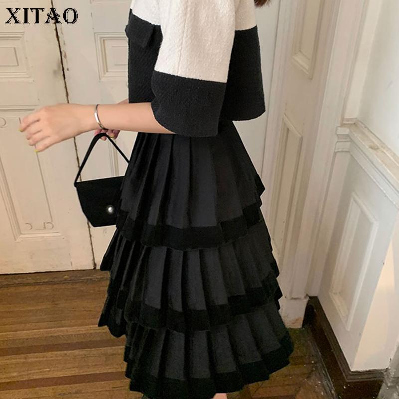 Xitao Patchwork Vintage increspature multi strato del pannello esterno delle donne 2019 nuovo stile di autunno nero della vita naturale A Gonna elegante GCC2095 T200324