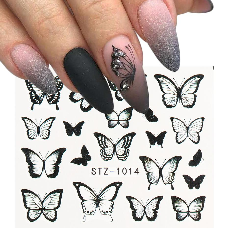 NEW Butterfly Nail Stickers Water Transfer Decals Colorful Blue Black Design Nail Art Manicure Sliders Wraps Foils