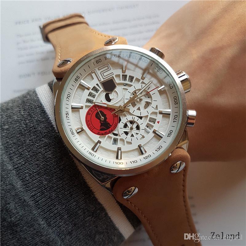 Uhr Run Sekunden Quarzwerk Durchmesser 44mm Armbanduhr Marke Mann-Uhr-Luxus-wasserdichte Stoppuhr Chronograph Uhren Montres