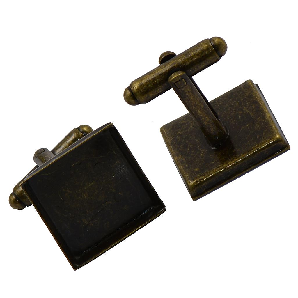 6pcs place Réglage de base Blank Pad Boutons de manchette bricolage formelle Boutons de manchette en bronze