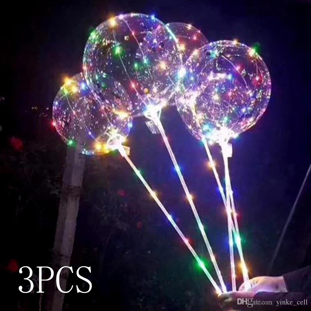 LED Balloon Ball Night Light BoBo Balloons With Stick Luminous Colorful Flashing Lamp Happy Birthday Party Wedding Decor