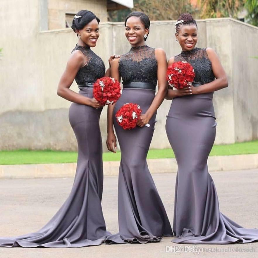 Sereia Alta Neck Africano Nigeriano Sereia Da Dama de Honra Vestidos Com Contas Vestido de Convidado Do Casamento Longo Partido Da Menina Vestidos de Baile