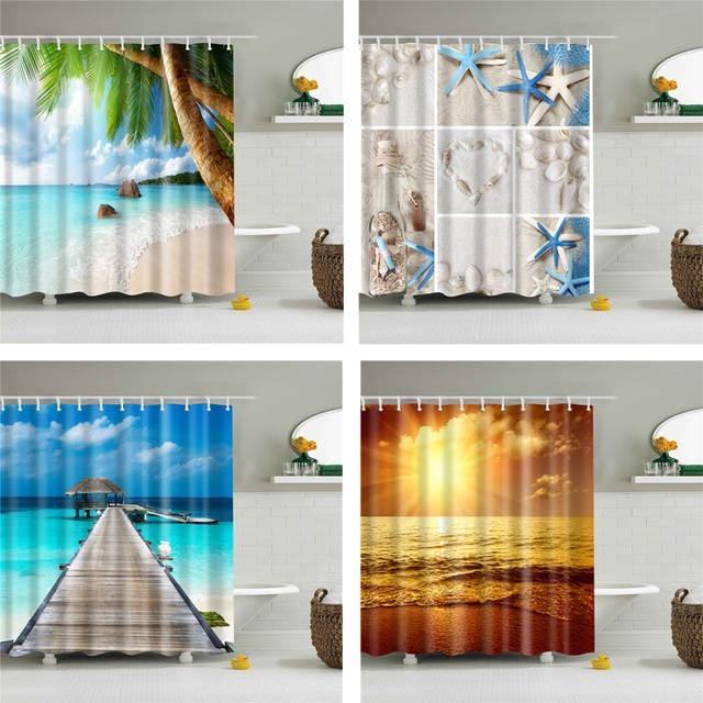 3D شاطئ البحر مشهد مطبوعة دش ستائر مجموعة أقمشة بوليستر للماء عالية الجودة حمام الستار الشاشة الحمام ستائر ستارة الحمام