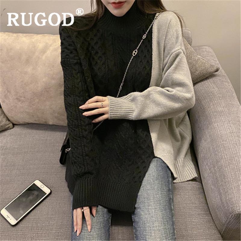 RUGOD النساء خليط أنيقة سترة 2019 خمر جولة العنق التريكو البلوفرات الإناث أزياء الشتاء الدافئة البلوزات ذات الحجم الكبير