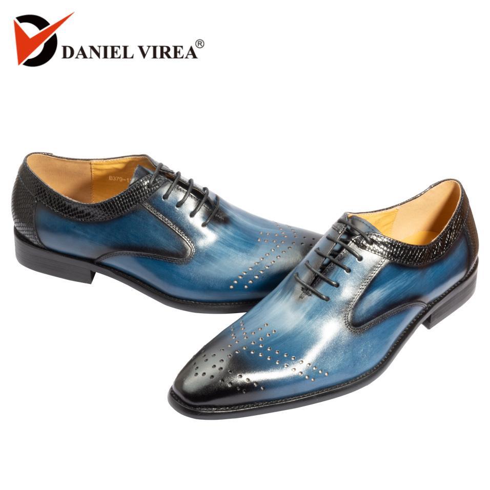 Handgemachte Büro Business Hochzeit Kleid aus Echtem Leder Herren Schuhe blau Luxus Mischfarbe Formale spitz Oxfords Männer Schuhe Y200420