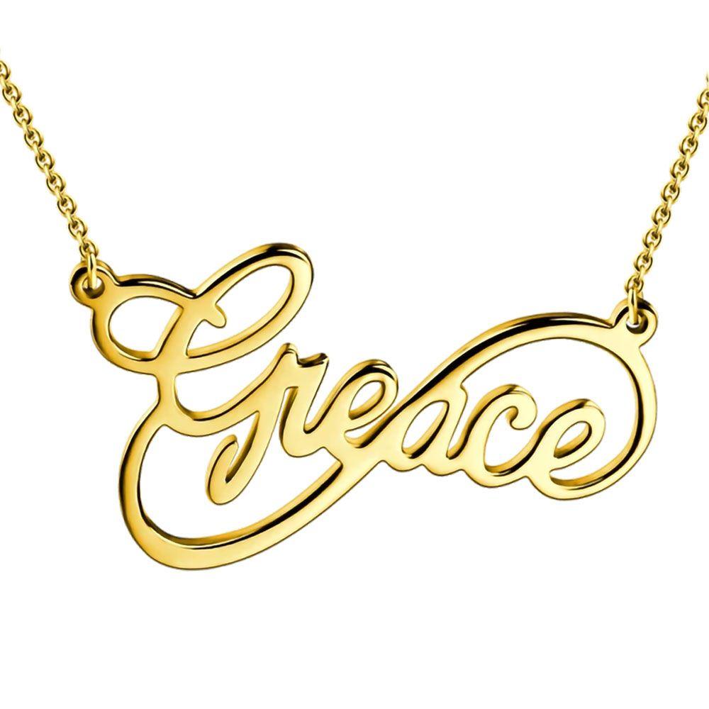 Custom Name Halskette mit Infinity-Anhänger mit Alphabet Skript-Art Alle Typenschild für Frauen Familie Schmuck Geburtstags-Geschenk