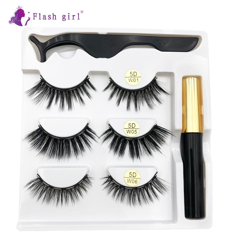 Mejor la venta Mix w-1 3 pares conjunto Mix Magnetics pestañas con delineador de ojos líquido y pinzas maquillaje natural