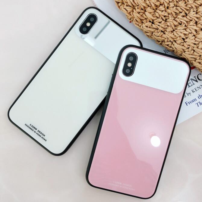 1pcs Hot Fashion Solid Color Glass Mobile Phone Case Soft Case For Iphone 6s 7 8 Xr Xs 11 Pro Max Plus Drop Protection Case