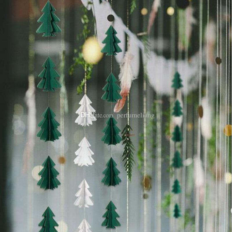 2.5 m Ghirlanda di carta Albero di Natale Striscioni per striscioni Decorazioni da appendere in stamina per feste di Natale Decorazioni per la casa ZC1124