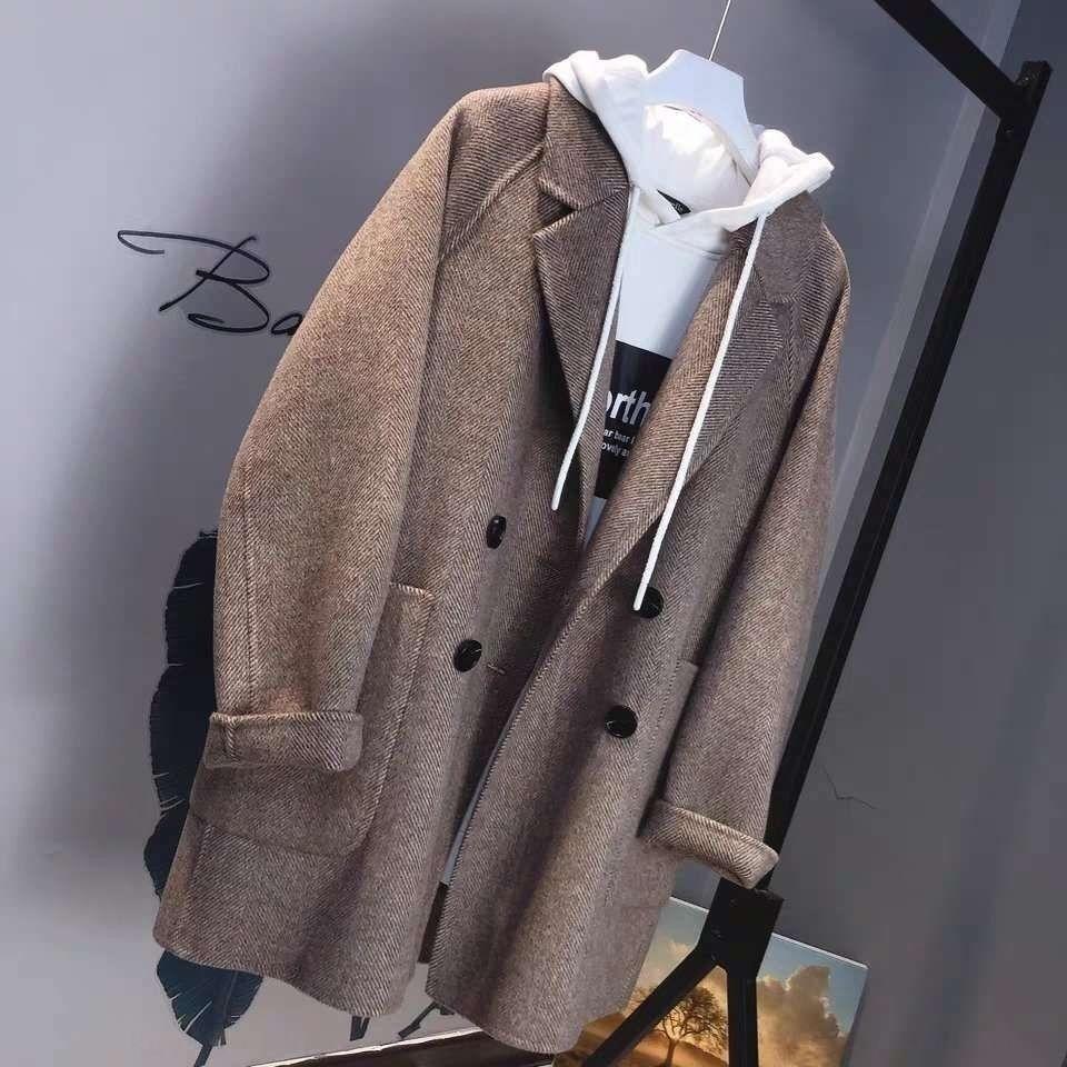 A lã lã curta espinha de peixe é um cashmere dupla face imortal de lã casaco de mulheres espinha terno solta casaco fino