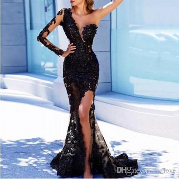Одно плечо с длинным рукавом черного кружева вечернее платье 2020 Sexy Стиль High щелевая Mermaid Длина пола Пром платье нестандартного размера