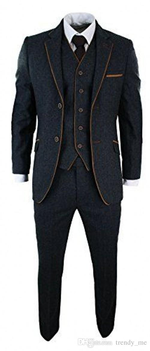 Custom Made Tweed Men Suit Elegant Formal Wedding Party Prom Men Suits Slim Fit Tuxedos Terno Masculino 3 Piece Business Jacket