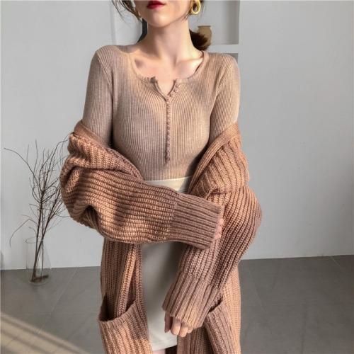 Autumn V-neck Single Breasted Women Sweater Full Sleeve Knitted Pullovers Feminino Soft Femme Winter Jumper 2020 GD59