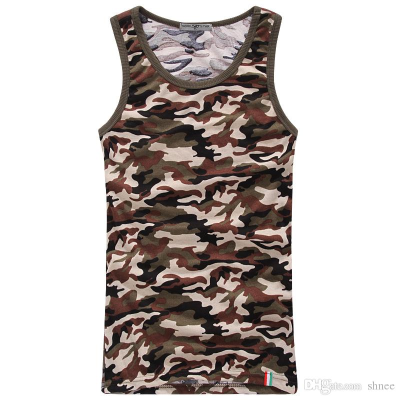 Slim Tight Men's Camouflage Camouflage Maschi Army Green Camo Stretch Bodybuilding Fitness Canottiere Nuovo arrivo