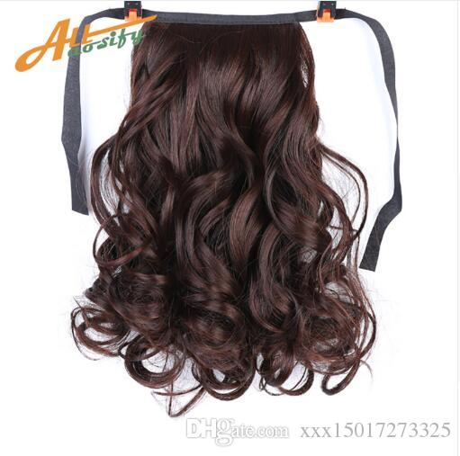 Short Curly Wavy Ponytail Pure Color Black Drawstring Clip In Hair Extensions Heat Resistant Synthetic Hair Extensions 80g/piece