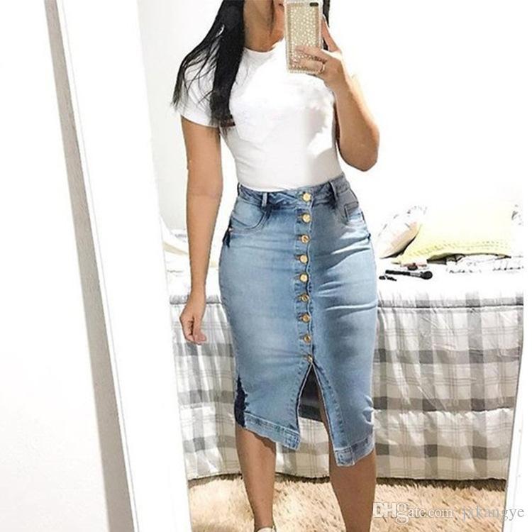 E-BAIHUI جديد 2019 لربيع وصيف حزمة الورك تنورة الشق الجينز تنورة المرأة خطوة الدنيم تنورة ضئيلة الإناث سيدة الخصر تنورة طويلة التنانير l433