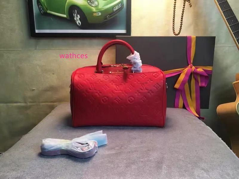 M42406 Speedy Schultergurt Rote Blumen Druck Geprägte Hobo Handtaschen Top-Griffe Boston Cross Body Messenger Schultertasche