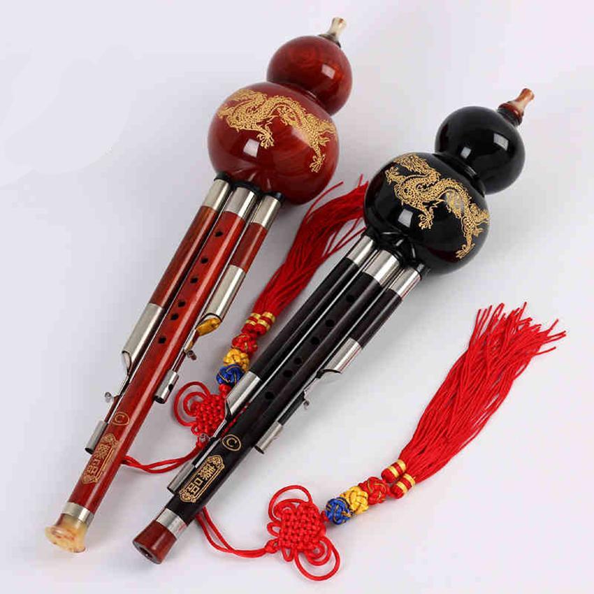 Wood Cucurbit Flute Chinese Traditional Wind Musical Instrument C/Bb Key Ebony Hulusi Flauta Folk