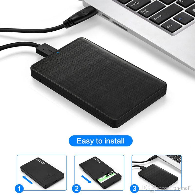 2.5 Inch SSD Hard Drive External Enclosure,Support SATA HDD Max 2TB for PC Laptop