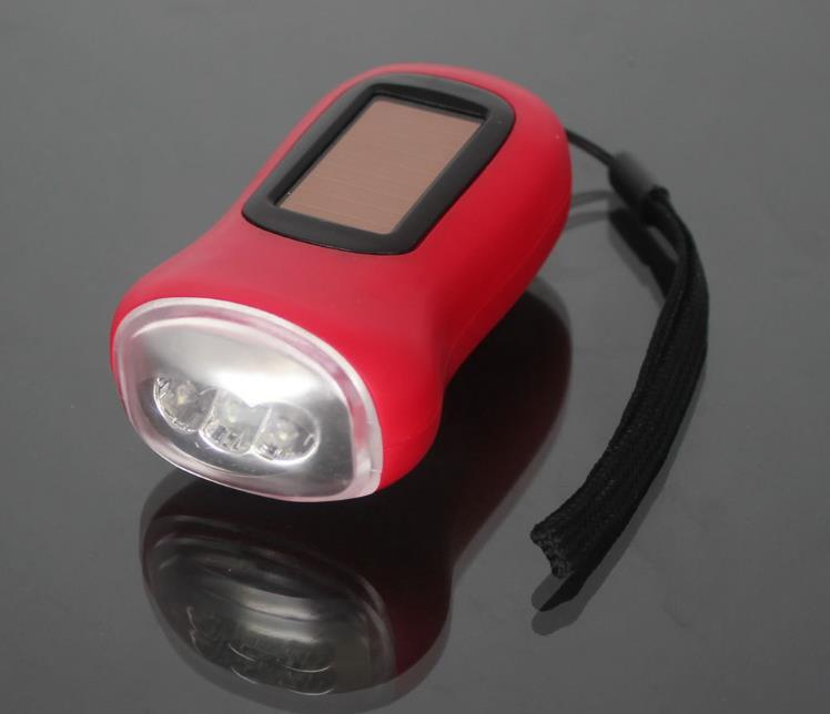 Mini Portable Hand Crank Dynamo 3 LED Solar Powered Flashlight Camping Torch Gift SN3004