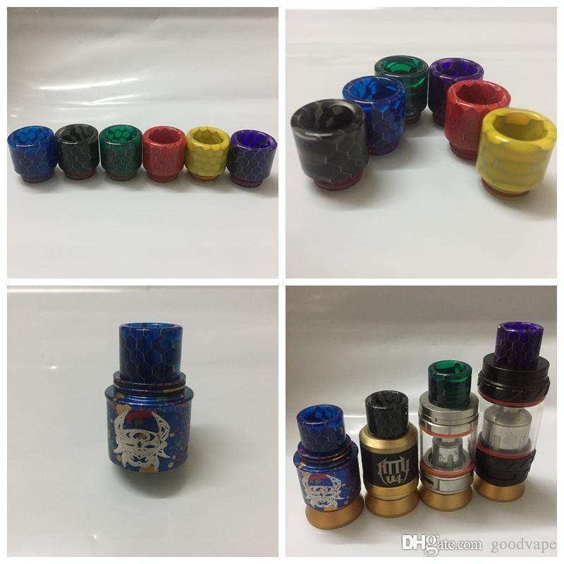 Colorful Snake Skin 810 Resin Drip Tip Wide Bore Mouthpiece Mouth Fit VAPE Goon 5281 Kennedy 24 Battle Apocalypse RDA Pyro TFV81 TFV2 Prince