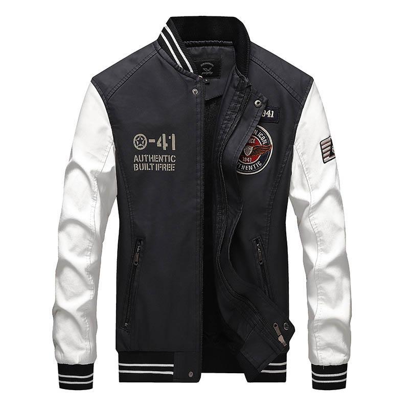 Erkek Standı Yaka için KIOVNO Moda Erkekler Pu Deri Ceket Blok Renk Sahte Deri Rozet Ceketler Coats
