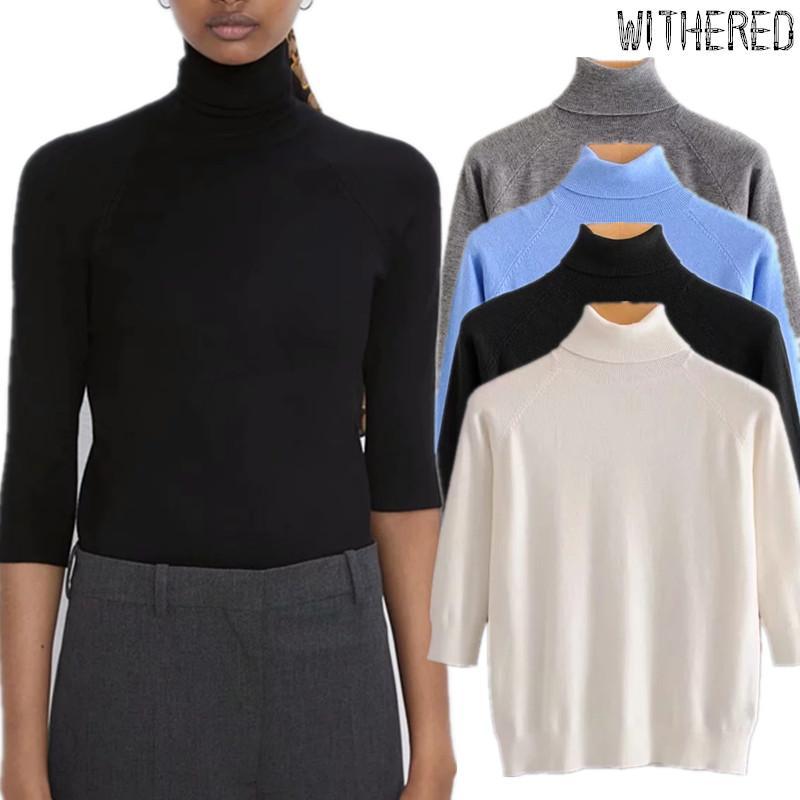 suéteres de invierno marchitas las mujeres inglaterra simples multicolor sólido cuello alto tejer suéteres básica de tracción femme mujeres suéteres superiores