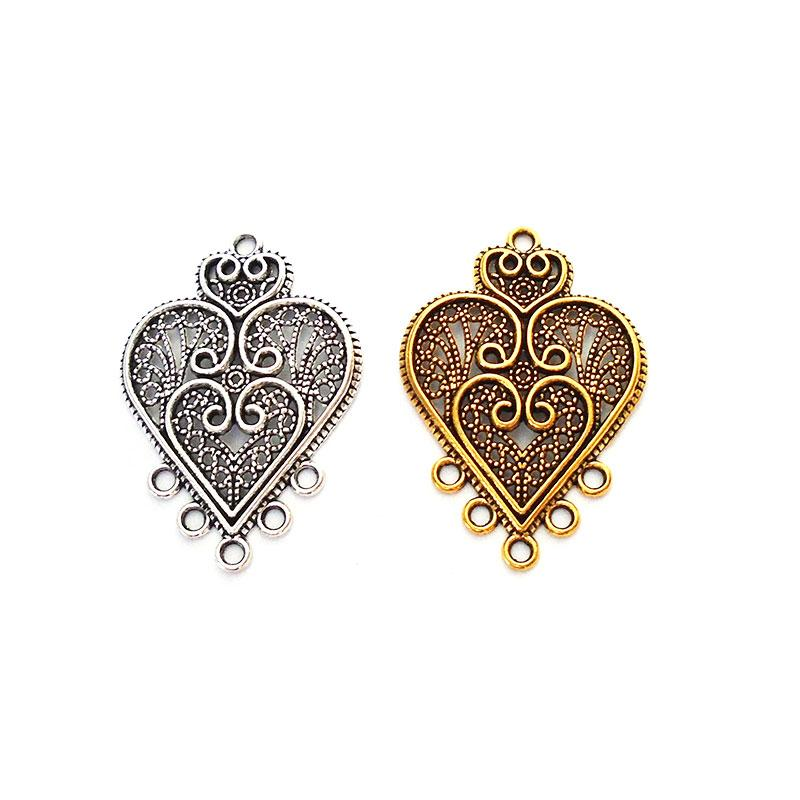 20 X TIBETAN SILVER GOLD PLATED FILIGREE HEART CHARMS