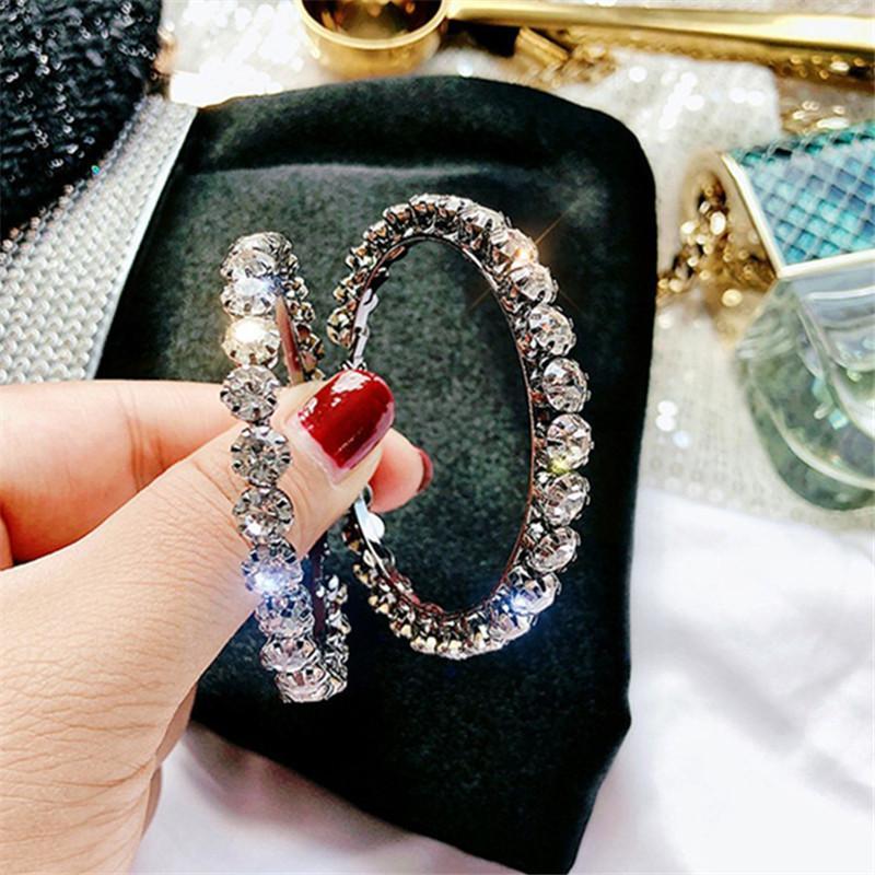 여성 바 파티 보석 선물에 대한 FYUAN 패션 빅 라운드 크리스탈 후프 귀걸이 빛나는 블랙 합금 라인 석 귀걸이