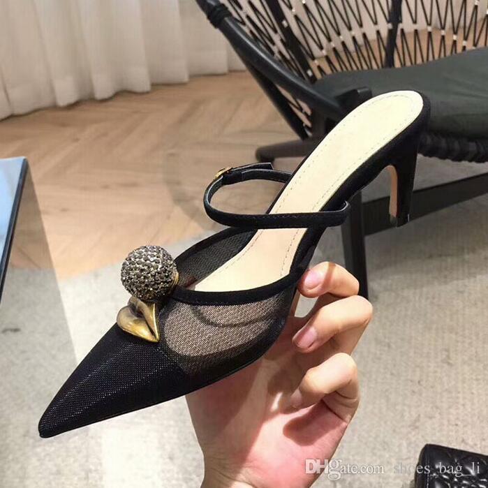 2019 летние новые тапочки baotou женские заостренные сандалии сетка пряжа сексуальная одно слово пряжка с босоножки на шпильке Марка женщины