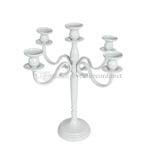 Antique Style Metal Pillar White Candelabra Wedding Centerpiece decorate Candle Holder-40cm tall(sold in USA only)