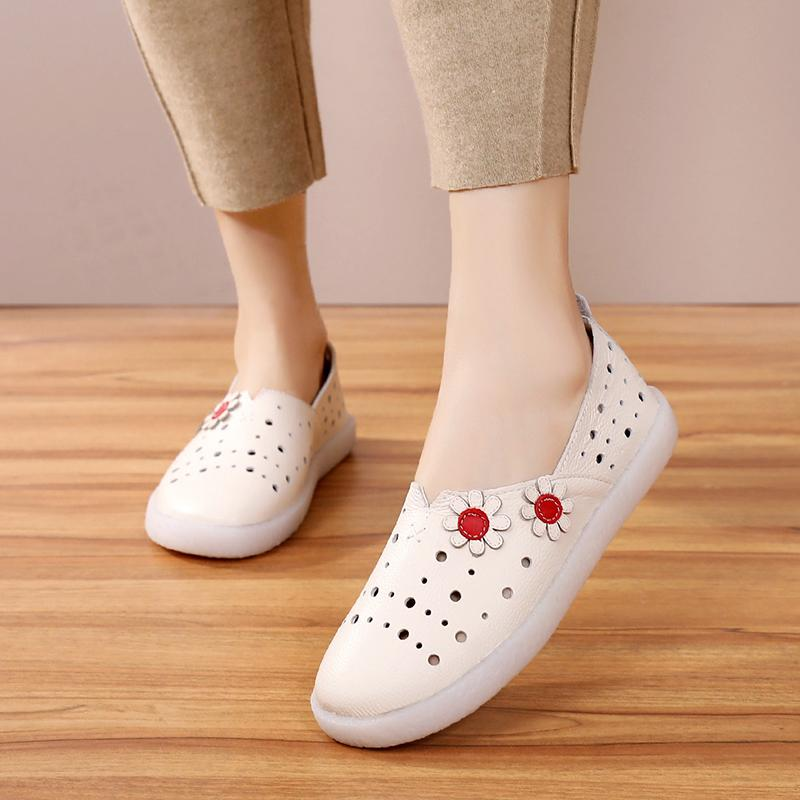 Peipah الرجعية المرأة الأحذية اليدوية جلد طبيعي الربيع الصيف قطع عارضة الإناث الشقق أحذية النساء espadrilles