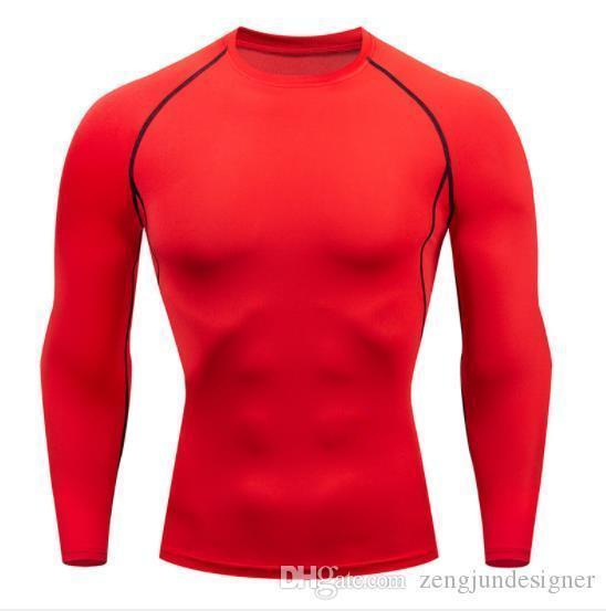 Camisetas Sólidos Rápida Cor seco manga comprida gola Homme Vestuário joggings bicicleta Casual Designer Vestuário Mens Sports