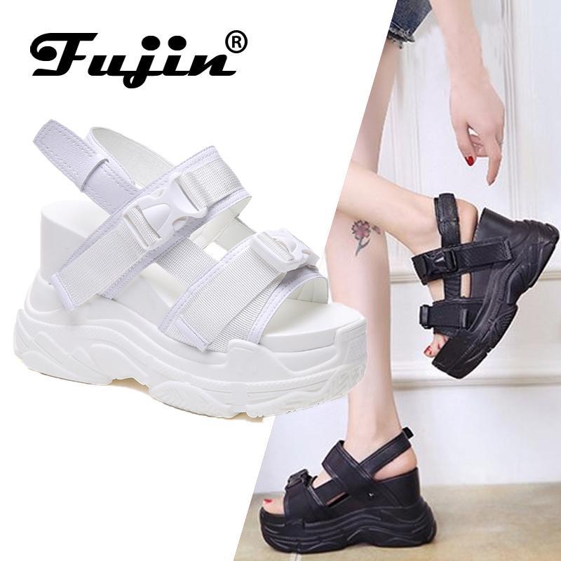 Fujin sandalias de tacón alto de las mujeres aumentó Zapatos inferior grueso de Verano 2020 nuevas mujeres con zapatos de la cuña de la plataforma abierta del dedo del pie zapatos T200111